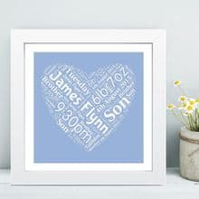 Framed New Baby Heart Word Cloud - Ideal Christening/Naming Day Gift or Nursey Artwork