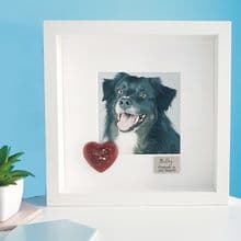 Framed Pet Photo with Small Resin Heart Containing Pet Cremation Ashes