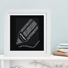 Framed Teacher Blackboard Word Cloud - Ideal end of year gift or leaving present for a Teacher