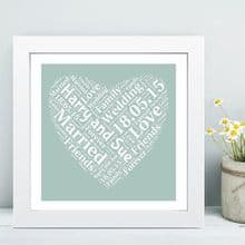 Framed Wedding Heart Word Cloud - Ideal Personalised Keepsake Gift For The Wedding Couple