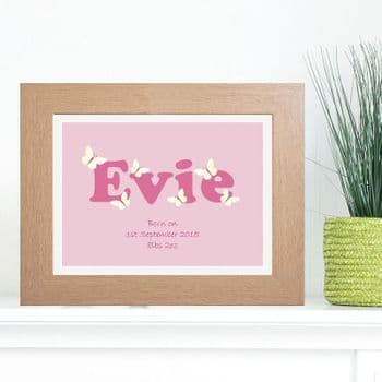 Girl's Name Artwork - Unique Personalised Baby or Christening Gift