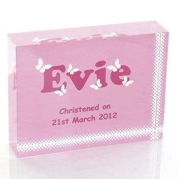 Girl's Name Crystal - Pretty Personalised New Baby, Christening or Baptism Keepsake Gift