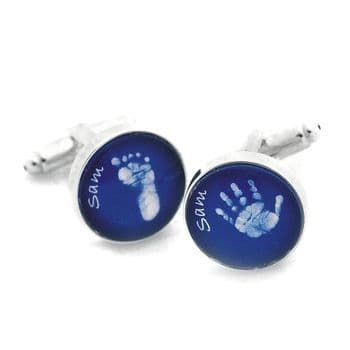 Glass Baby Hand or Foot Print Cufflinks - Personalised 1st Father's Day or Christmas Keepsake Gift