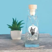 Glass Bottle Pet Urn for Dog or Cat Cremation Ashes Featuring Heart Photo Tag