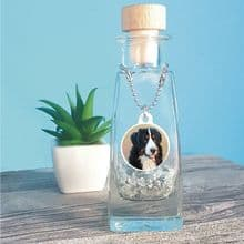 Glass Bottle Pet Urn for Dog or Cat Cremation Ashes Featuring Round Photo Tag