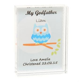 Godfather Owl Crystal - Personalised Christening Gift For a Godfather