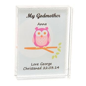 Godmother Owl Crystal - Personalised Christening Gift For A Godmother