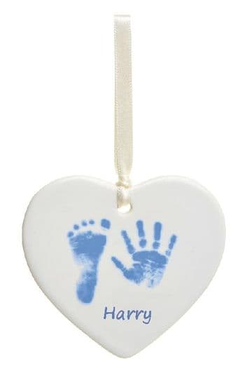 Hand or Foot Prints Ceramic Heart - Set of 4 Christmas Tree Decorations