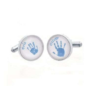 Handprint and Footprint Glass Cufflinks - Coloured Prints on White Background - Unique Personalised Father's Day Gift