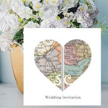 Heart Vintage Map Wedding Invitations - Personalised with Maps Of your Chosen Worldwide Locations - FREE Framed Keepsake Print