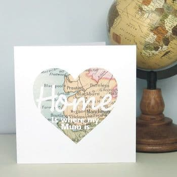 Home Is Where My Mum Is Vintage Map Personalised Card - Ideal for Mother's Day or as a Birthday Card