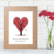 Illustrated Heart Tree Artwork - Unique Personalised Wedding or Valentines Day Gift