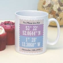 Map Coordinates Personalised Mug - Unique Birthday, Anniversary or Valentine's Day Gift