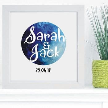 Names Space Print in Box Frame - Unique Wedding, 1st Anniversary or Valentine's Day Gift