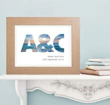 Ocean Sunset Initials Print - Personalised Wedding, Anniversary or Engagement Gift