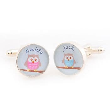 Owl Children Cufflinks - Unique Personalised Father's Day Gift - Gift For Dad or Grandad