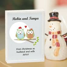 Owl Couple Christmas Crystal - Personalised First Christmas Married or Engaged  Keepsake Gift