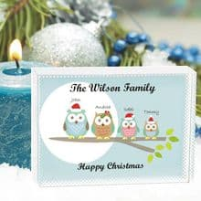 Owl Family Christmas Large Crystal - Personalised Family Christmas Keepsake Gift