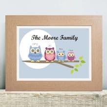 Owl Family Tree Print - Personalised Housewarming Gift