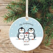 Penguin Tree Bauble Decoration, 1st Christmas as Godparents - Cute Penguin Gift