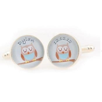 Personalised Baby Owl Cufflinks - Gift For a New Dad or Father's Day