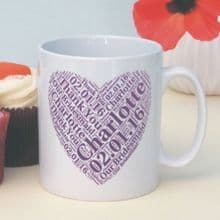 Personalised Bridesmaid Heart Mug - Ideal Wedding Keepsake For Bridesmaids