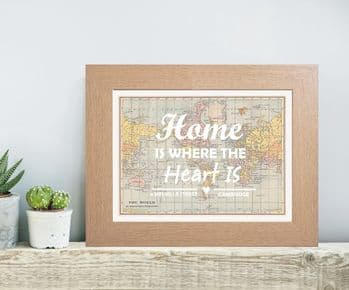 Personalised Coloured Typography 'Home Is Where The Heart Is'  Map Print - Unique Housewarming Gift