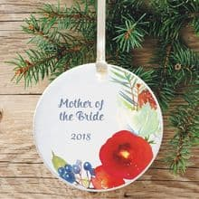 Personalised Mother of the Bride Christmas Tree Decoration - Floral Design
