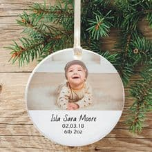 Personalised Photo Ceramic Keepsake Christmas Tree Decoration displaying Birth Details