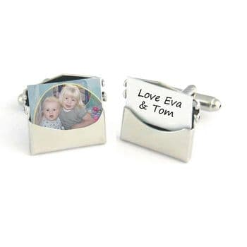 Personalised Photo Envelope Cufflinks - Ideal Father's Day or Valentine's Day Gift