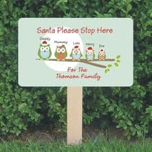 Personalised Santa Stop Here Sign - Owl Family Design - Festive Christmas Sign Decoration