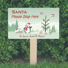 Personalised Santa Stop Here Sign - Penguin and Rabbit Design - Festive Christmas Sign Decoration