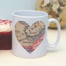 Personalised Vintage Map Location Mug - Great Birthday, Anniversary or Bon Voyage Gift