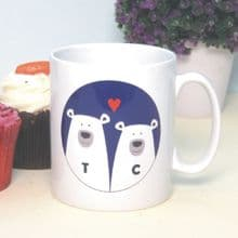 Polar Bears in Love Personalised Mug -  Unique Gift for a Wedding, Anniversary, Birthday or Valentine's Day