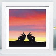 Rabbit Silhouette in Box Frame - Unique Wedding, 1st Anniversary, or Engagement Gift