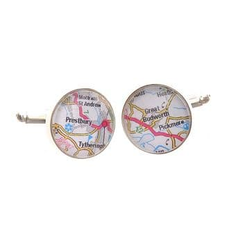 Road Map Cufflinks - Cufflinks Personalised With Locations - Unique Wedding Day Cufflinks