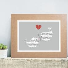 Romantic Wedding Vows Art Print - Personalised Wedding, Anniversary or Valentine's Day Gift