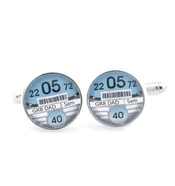 Tax Disc Cufflinks - Personalised Wedding Cufflinks - Ideal Father's Day Gift