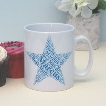 Teacher Apple Word Cloud Personalised Mug - Ideal gift or leaving present for a Teacher