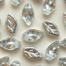 10 x 5mm Czech Glass Leaf Beads Silver Half Coat - 25