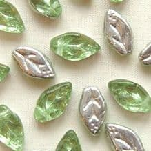 10 x 5mm Czech Glass Leaf Beads Silver Peridot  - 25