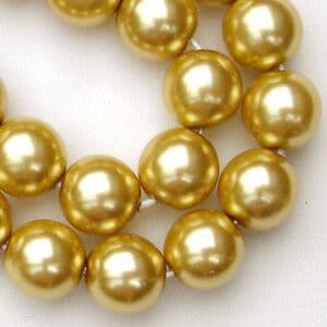 10mm Preciosa Czech Glass Pearls, Gold - 50