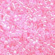 11/0 Delica DB0245 Lined Crystal Medium Pink - 7.2 grams