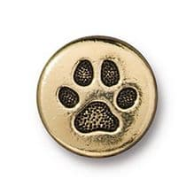 12mm Tierracast Button - Antique Gold Small Paw Print - 1