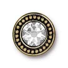 12mm Tierracast Button - Antique Gold Swarovski - 1