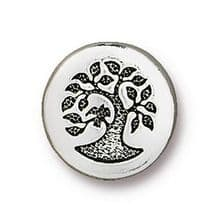 12mm Tierracast Button - Antique Silver Small Bird in Tree - 1