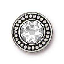 12mm Tierracast Button - Antique Silver Swarovski - 1