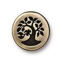 12mm Tierracast Button - Brass Oxide Small Bird in Tree - 1