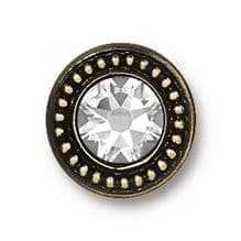 12mm Tierracast Button - Brass Oxide Swarovski - 1
