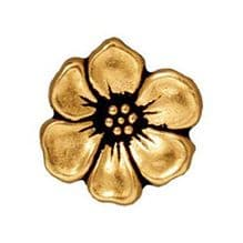 15.5mm Tierracast Button - Antique Gold Apple Blossom - 1